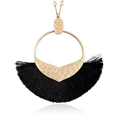 (RIAH FASHION Bohemian Fringe Tassel Pendant Statement Necklace - Silky Strand Semi Circle Fan Charm, Teardrop Thread, Freshwater Pearl Charm Long Chain (Mermaid Tail Tassel - Black))