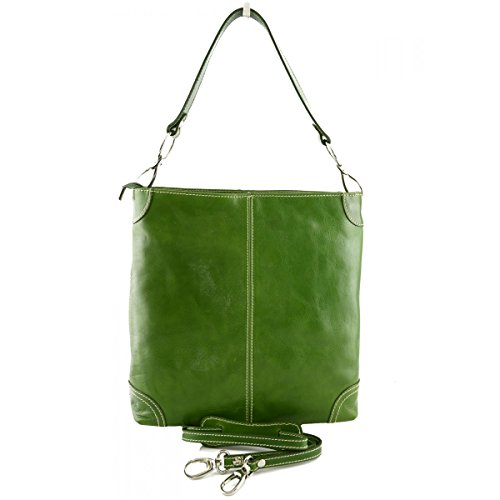 Borsa Donna A Tracolla In Pelle Colore Verde - Pelletteria Toscana Made In Italy - Borsa Donna