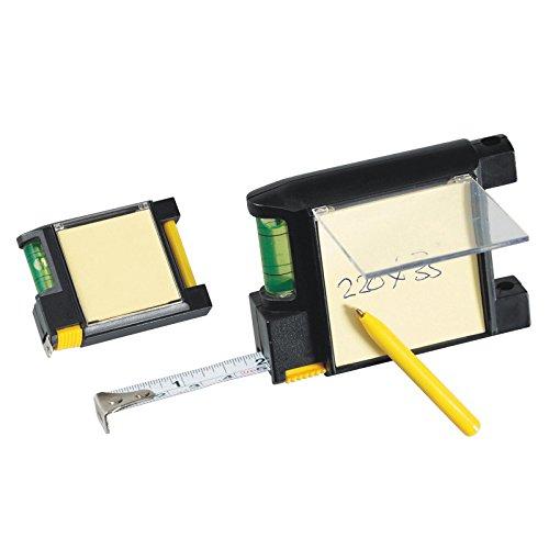 Stahlbandmaß 2m / mit Wasserwaage, Memoblock und Kugelschreiber / Farbe: schwarz Markenlos