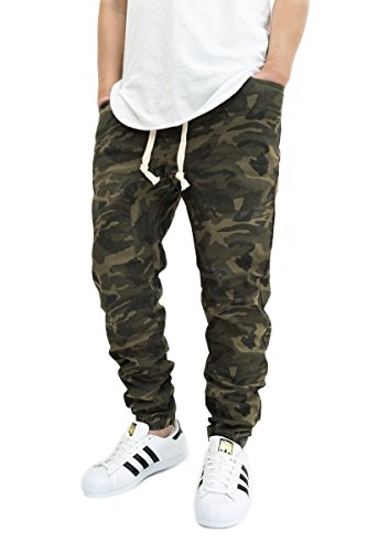 MEN'S OLIVE CAMO TWILL DROP CROTCH JOGGER PANTS (M)