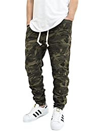 Men's Olive Camo Twill Drop Crotch Jogger Pants