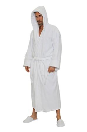 9750ada8c7 Amazon.com  TowelRobes Men s Velour Hooded Bathrobe - White  Clothing