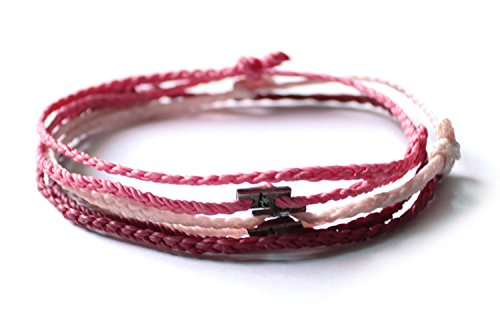 Wakami Simple Handmade Karma Ankle Etsy Bracelets Surfer Girl Hatha Bikram Yoga Men Women (Red)