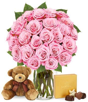 Flowers - Two Dozen Pink Roses with Chocolates and a Bear (Free Vase Included) ()