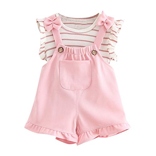 3-24 Months Newborn Infant Baby Kids Girl Boy Striped Sleeveless Shirt and Suspenders Shorts Clothes Outfits Set (6-12 Months, Pink)]()
