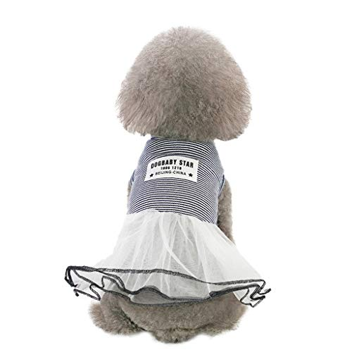 TTbuy Cute Striped Lace Dress Pet Dog Spring and Summer Stripe Skirt Dog Costumes Pet Dog Clothes Puppy Small Dog Cat DressApparelClothes Fly Sleeve Dress Stripe Lace Vest (M, Black)