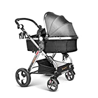 besrey Baby Stroller 2 in 1 Pram Baby Carriage with Convertible Reversible Bassinet for Infant Newborn Comfortable to Sleep in