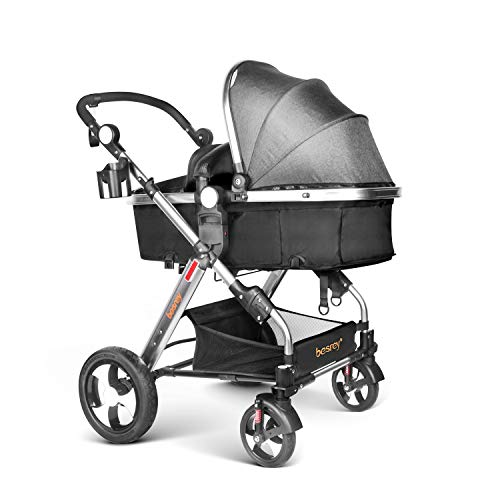 Review Infant Baby Stroller for Newborn and Toddler - Besrey Convertible Bassinet Stroller Luxury Pr...