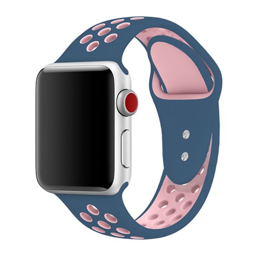 jwacct Compatible with Apple Watch Series 4 40mm Band, Silicone Replacement iWatch Band for Apple Watch Series 1 2 3 Band 38mm, S/M Size (Ocean Blue/Light Pink)