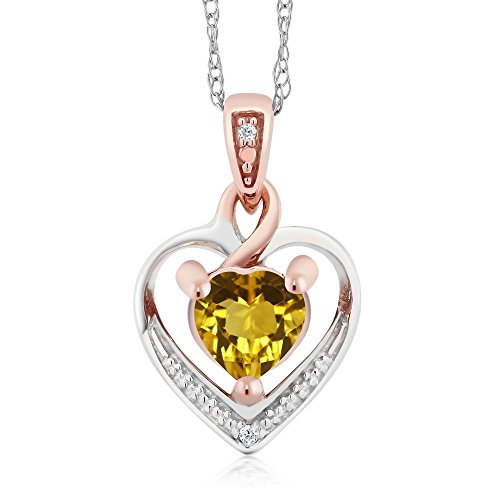 (Gem Stone King 10K White and Rose Gold Yellow Citrine and Diamond Heart Shape Pendant Necklace (0.46 cttw, With 18 inch Chain))