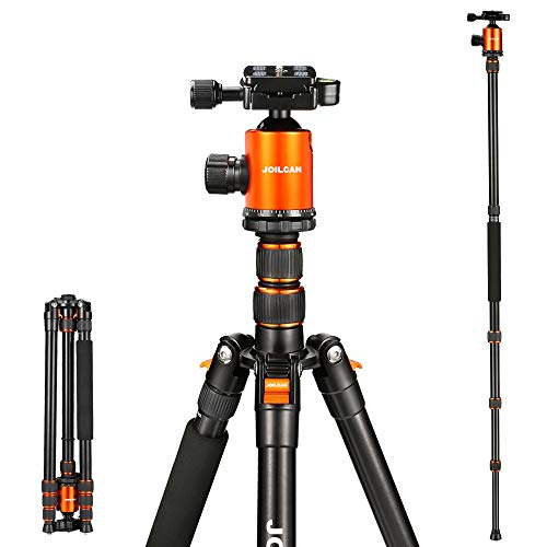 Joilcan 80-inch Tripod for Camera, Aluminum Tripod for DSLR,Monopod, Lightweight Tripod with 360 Degree Ball Head Stable for Travel and Work 18.5″-80″,19lb Load (Orange)