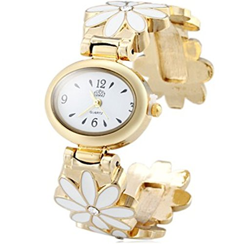 Vavna Gold Alloy Cuff Bangle Rhinestones Flower Women's Bracelet Watch Gift Box - White