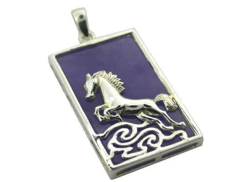 Light Lavender Jade Wild Stallion Rectangle Pendant, 925 Sterling (Sterling Silver Lavender Jade Necklace)