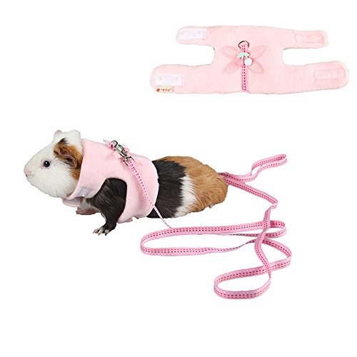 Stock Show Small Animals Outdoor Walking Vest Harness with Cute Butterfly Decor and Lead Leash Set Rabbit Hedgehog Ferret Guinea Pigs Piggies Squirrel Kitten Puppy Comfort Clothes Accessory, Pink