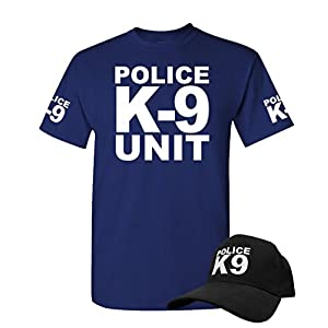 K-9 UNIT - k9 canine police officer swat - T-SHIRT + HAT COMBO, XL, Navy