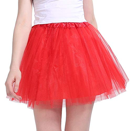 Cheap Red Tutus Adults (Women's Classic 4 Layered Tulle Tutu Skirt Red Tutu for)
