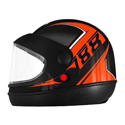 Pro Tork Capacete Super Sport Moto 2019 Fosco 60 Preto/Laranja