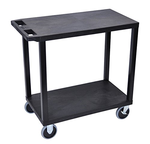 "LUXOR EC22HD-B Cart with 2 Flat Shelves, 18"" x 32"", Black"