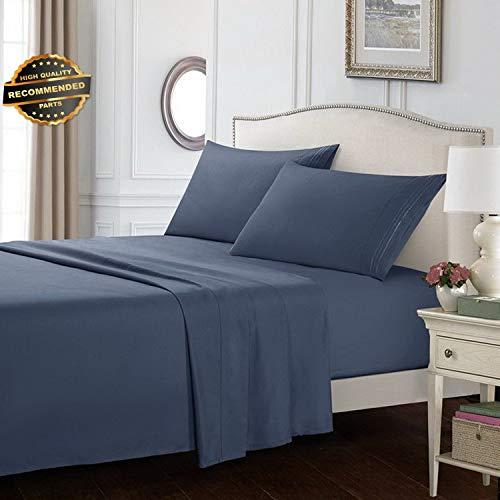 Gatton Premium New Bed Sheet Set Grey Blue 1 Flat Sheet 1 Fitted Sheet 2 Pillow Cases Bedding Room   Collection SHEESRONG-200113433
