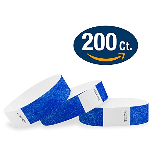 """WristCo Marine Blue 3/4"""" Tyvek Wristbands - 200 Pack Paper Wristbands For Events"""