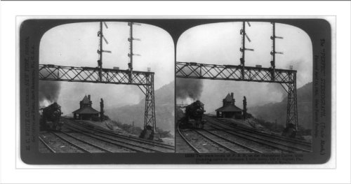 - Historic Print (L): Two track levels of P.R.R. on the horseshoe curve, train ...
