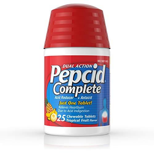 (Pepcid Complete Acid Reducer + Antacid Chewable Tablets, Tropical Fruit, 25 Count)