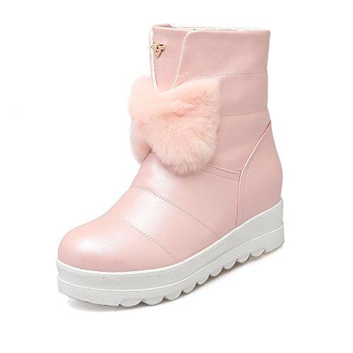 BalaMasa Womens Flowers Flatform Heighten Inside Solid Pull-On Urethane Boots ABL09774 Pink AGksKZBG