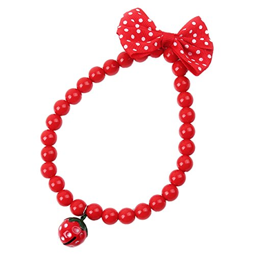 1 Set Strawberry Bowknot Red Beads Choker Bell Necklace Chain Pendant Dachshund Dog Puppy Animal Pets Collar Soft Elastic Bow Tag Tops Popular Small Extra Large Wide Training Camo Kitten Collars