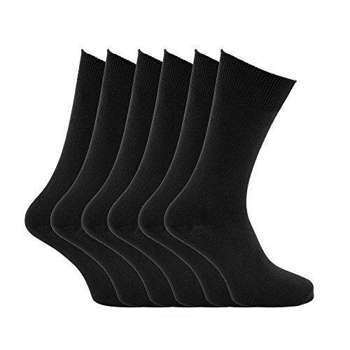 Mens plain 100% cotton socks (Pack of 6) (Mens 6-11) (Black)