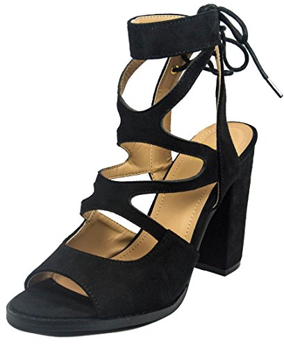 Womens Peep Toe Platform Suede Club Heels with Cut Out Black - 5