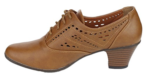 Refresh Heeled Women's London Tan Cutout 01 Oxford FzOagqFn