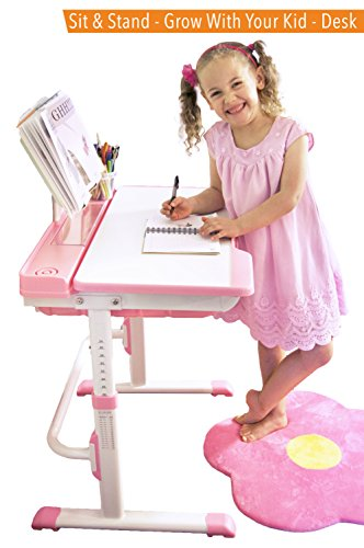 Kid's Desk Set - Adjustable Children's Table and Chair - Grows with Your Child! (Pink) by Einstein Kids