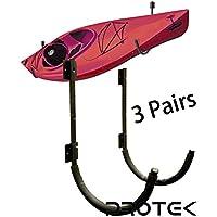 Protek 3 Pair of Indoor Outdoor 150 Lbs Kayak Canoe SUP Board Paddleboard Snowboard Surfboard Wakeboard Ski Storage Dock or Wall Mount Hook Display Rack Cradle Bar
