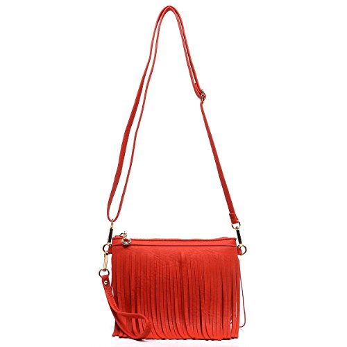 Elphis Western Vintage Fringe Tassel Wristlet Clutch Hipster Shoulder Bag Cross Body Bag(091) (Watermelon Red)