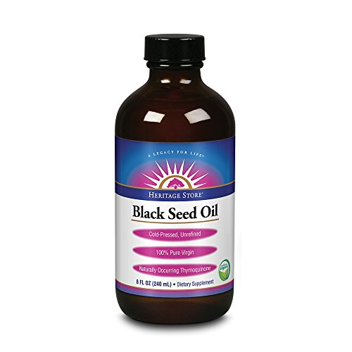 Heritage Store® Black Seed Oil | 100% Pure Virgin, Certified Organic, Cold Pressed, Unrefined | Supports Hair, Skin & More | 8 fl oz