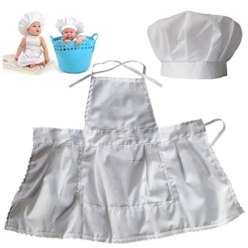(Lightbird Infant Baby Chef Apron Set Photography Props, Chef Unisex Baby Uniform Costume Photo Props Outfits)