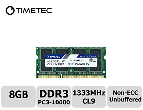 Timetec Hynix IC 8GB DDR3 1333MHz PC3-10600 Non ECC Unbuffered 1.5V CL9 2Rx8 Dual Rank 204 Pin SODIMM Laptop Notebook Computer Memory Ram Module - Pc Aopen Mini Components