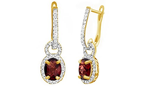 Oval Shape Red Simulated Garnet & White Topaz CZ Frame Drop Earrings In 14K Yellow Gold Over Sterling Silver