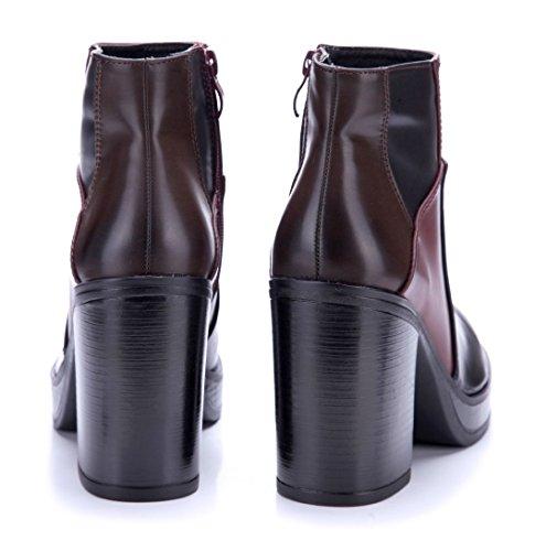 Schuhtempel24 Damen Schuhe Plateau Stiefeletten Stiefel Boots Blockabsatz 10 cm High Heels Schwarz