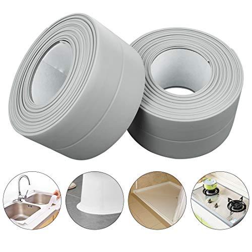Choose Bathtub Color - PVC Waterproof Sealing Tapes Pack of 2 Bathtub Caulk Strip Self Adhesive Waterproof Sealing Tape Edge Protector for Kitchen Countertop, Sink, Bathturb, Toilet, Gas Stove and Wall Coner, Grey