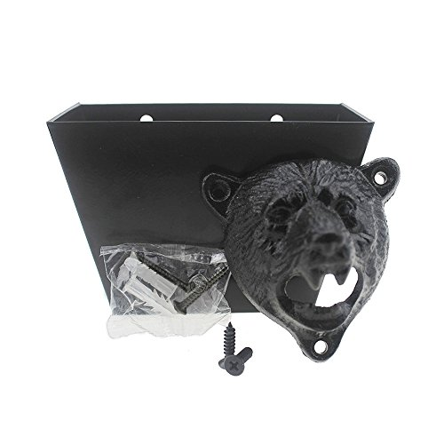 (DALANG INC. Cast Iron Bear Head Bottle Opener Wall Mounted Bottle Cap Catcher Set (Black Bear Teeth Opener))