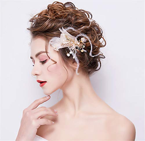 ELEGENCE-Z Bridal Hair Accessory, Sweet White Flowers Feathery Dress Accessories Princess Birthday Party]()