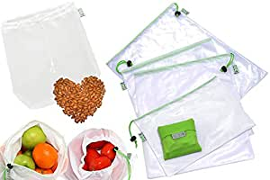 Amazon.com: rybit Bolsa Malla 9 reutilizable Set + 1 Bono ...
