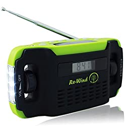 NEW Wind-UP solar powered Rechargeable AM/FM Radio LED Torch and USB Charging Port (cable included) No Batteries Required LCD Display Alarm Clock Headphone Socket