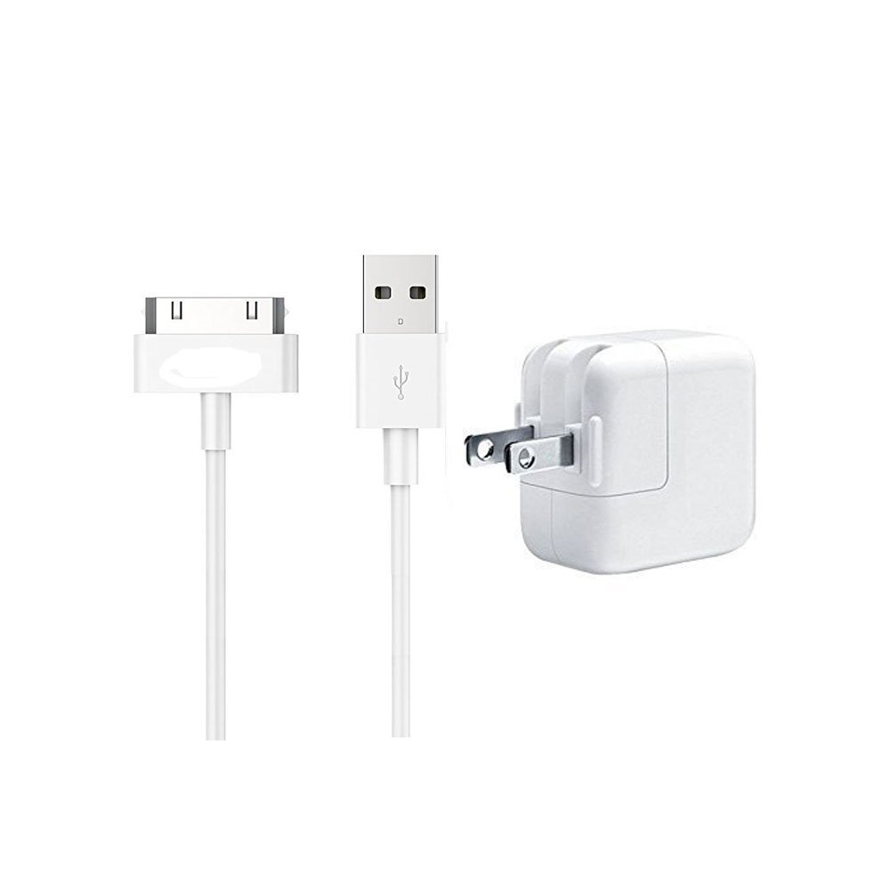 Ipad charger,10W USB Wall Charger Foldable Portable Travel Plug+6FT 30 pin USB Charging Cable Lightning Cable for iPhone 4/4S/3G/3GS, iPad 1 2 3, iPod nano 5th/6th and iPod Touch 3rd/4th gene