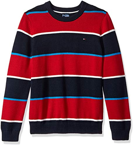 Tommy Hilfiger Boys' Little Sweater with Adjustable Shoulder Closure, Jester red, Large