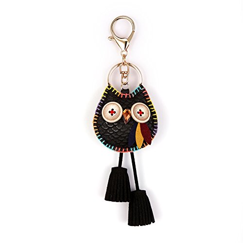 Owl Key Ring Chain, Nikang Handmade Leather Key Holder Metal Chain Charm With Tassels, Tassel Key Chain, Handbag Accessories, Purse Pendant, Fashion Item, Car Key Chain, Idea for Woman, Black