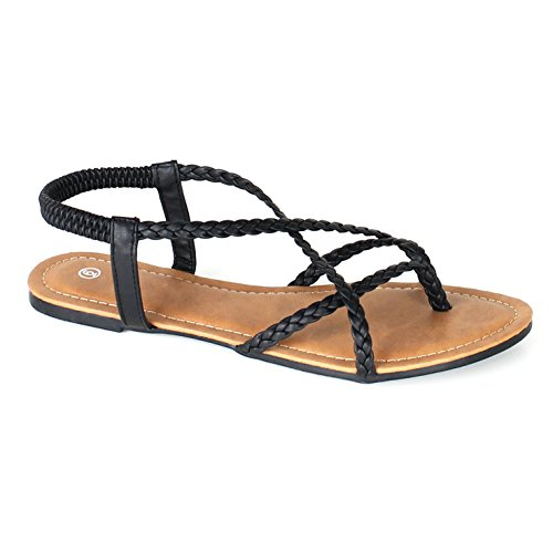 Braided Strappy Sandal (Women's Braided Strappy Gladiator Flat Sandal Y-Strap Thing Flip Flop Sandals (7, Black))