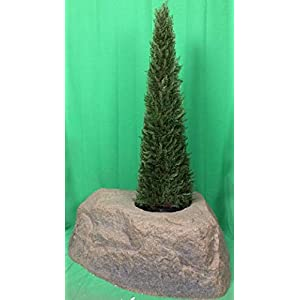 Artificial UV Rated Outdoor 4' Tower Cypress Topiary Tree Bundled with Rock Planter Cover, by Silk Tree Warehouse 79