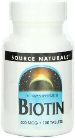 Source Naturals Biotin 600mcg High Potency B Vitamin Nutrients Support Healthy Hair, Skin & Nails - Maximum Strength Biotin Deficiency Supplement - 100 Tablets